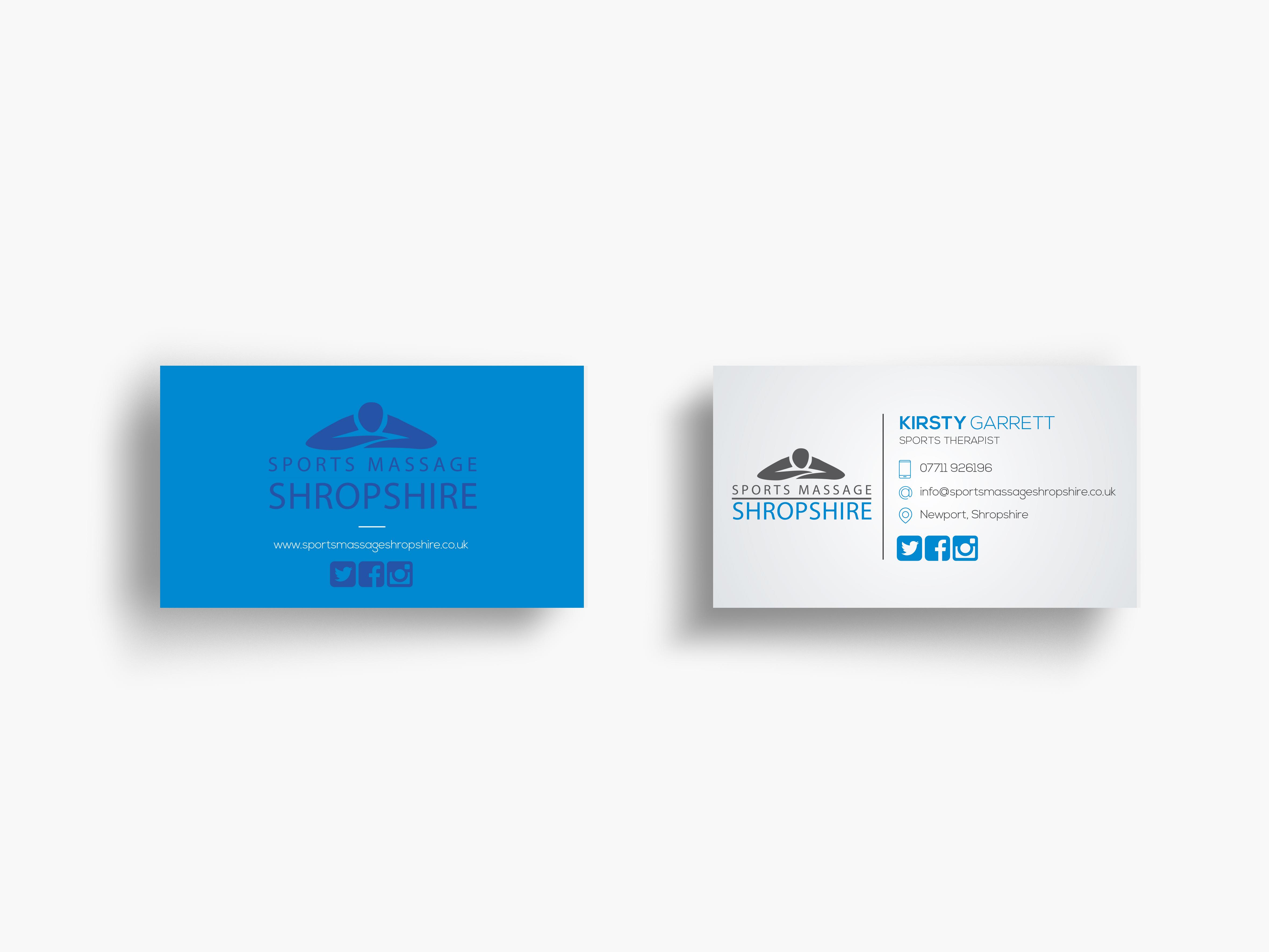 Sports Massage Shropshire Business Cards Portfolio Layout